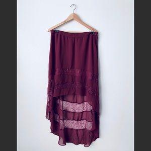 UrbanOutfitters Magenta Asymmetrical Chiffon Skirt